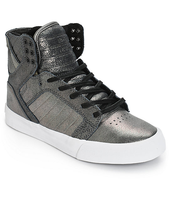 Supra Womens Skytop Pewter Metallic Shoes
