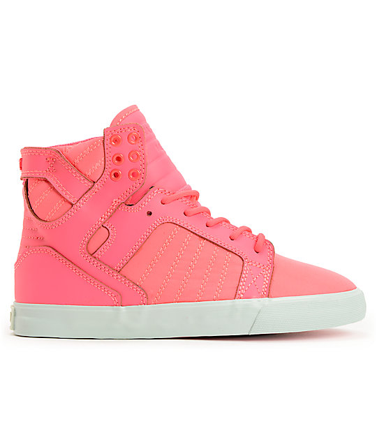 Supra Womens Skytop Pink Nylon High Top Shoes