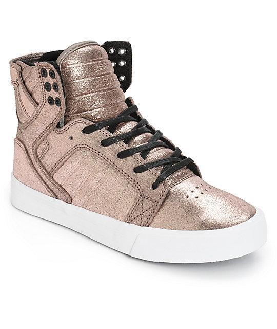Supra Womens Skytop Rose Gold Metallic Shoes