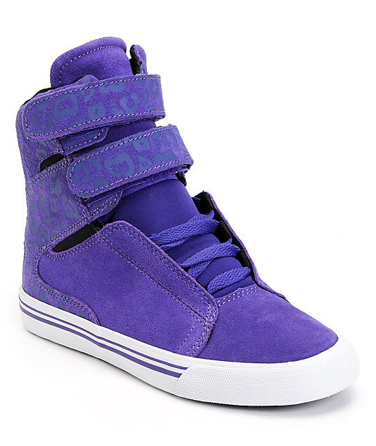 Supra Womens Society Purple Cheetah Print High Top Shoes