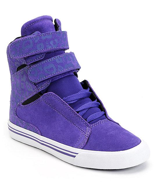Supra Womens Society Purple Cheetah Print High Top Shoes