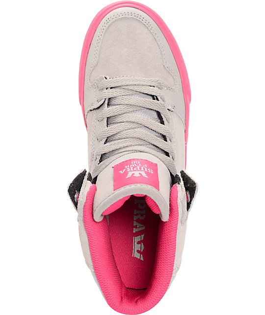 Supra Womens Vaider Grey Suede & Magenta Shoes