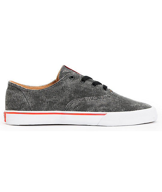 Supra Wrap Black, Red & White Canvas Shoes