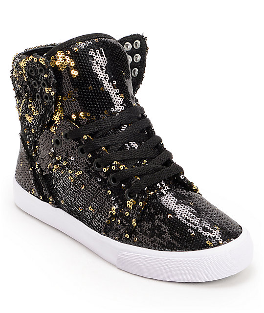 Supra x A Morir Womens Skytop Black & Gold Sequin Shoes