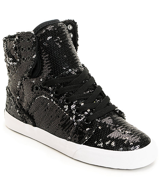 Supra x A-Morir Womens Skytop Black Sequin Shoe