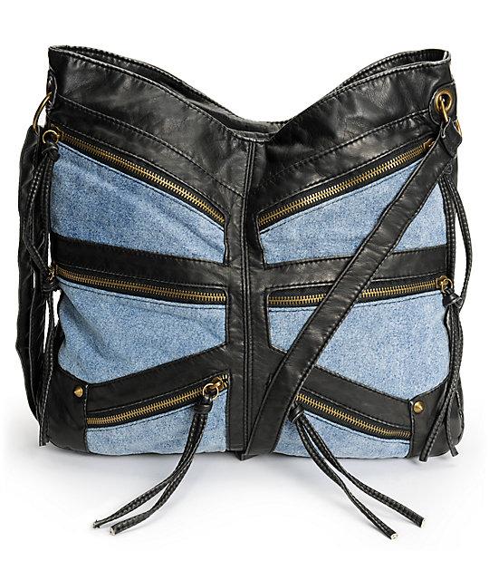 T-Shirt & Jeans Black Faux Leather & Denim Zipper Tote Bag