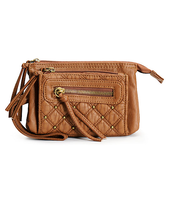 T-Shirt & Jeans Brown Quilted Faux Leather Wristlet