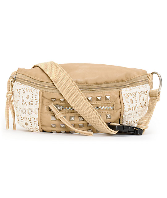 T-Shirt & Jeans Camel Crochet Studded Fanny Pack