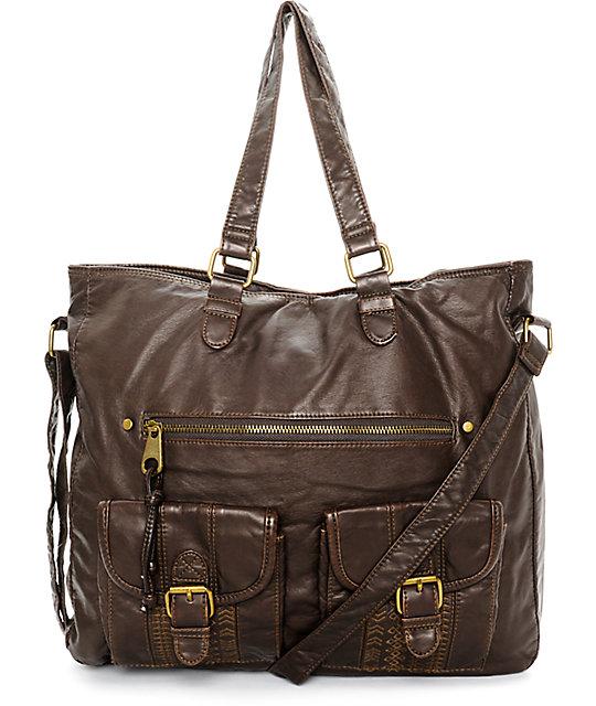 T shirt jeans caroline dark brown tote bag zumiez for T shirt tote bag