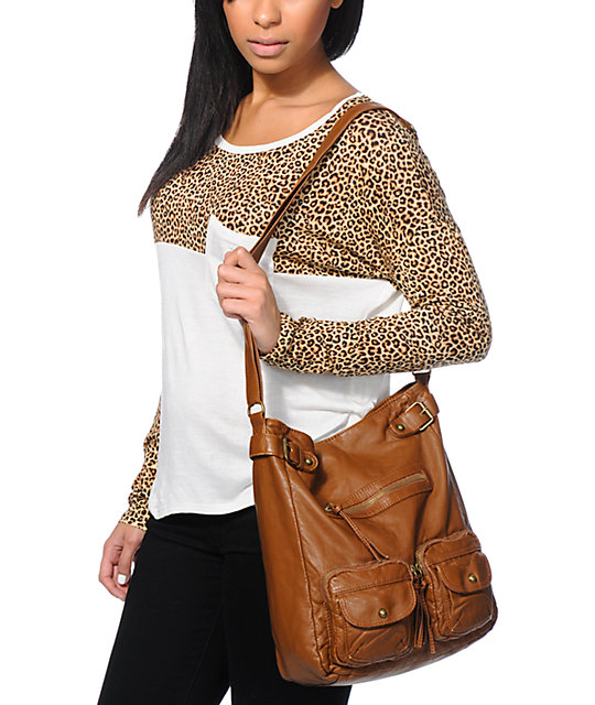 T-Shirt & Jeans Cognac Faux Leather Crossbody Tote Bag