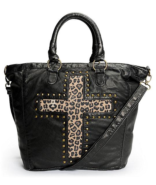 T-Shirt & Jeans Leopard Stud Cross Black Faux Leather Tote Bag