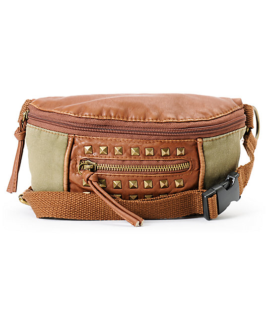 T-Shirt & Jeans Olive & Brown Studded Fanny Pack