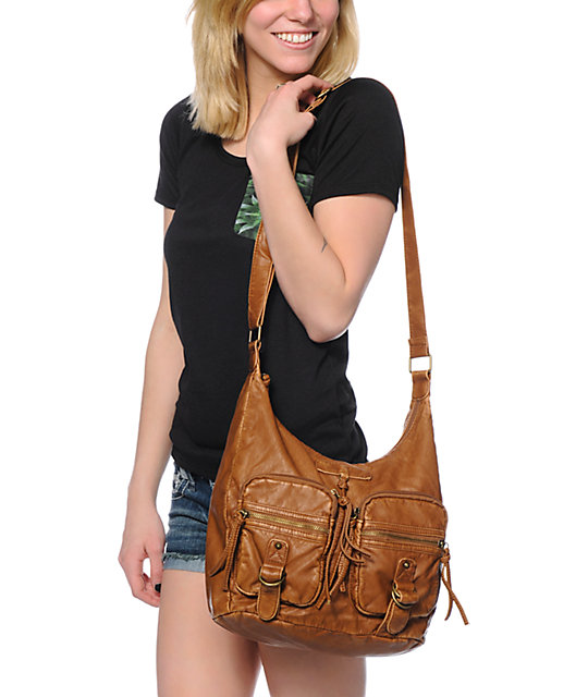 T-Shirt & Jeans Sarah 2 Pocket Cognac Brown Tote Bag