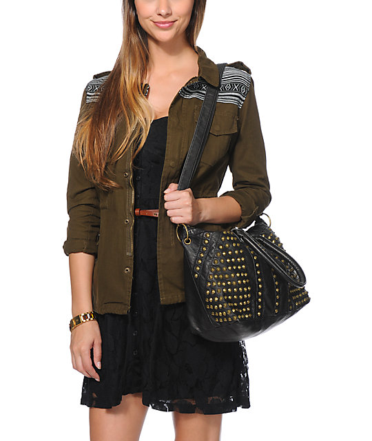 T-Shirt & Jeans Studded Black Fuax Leather Tote Bag