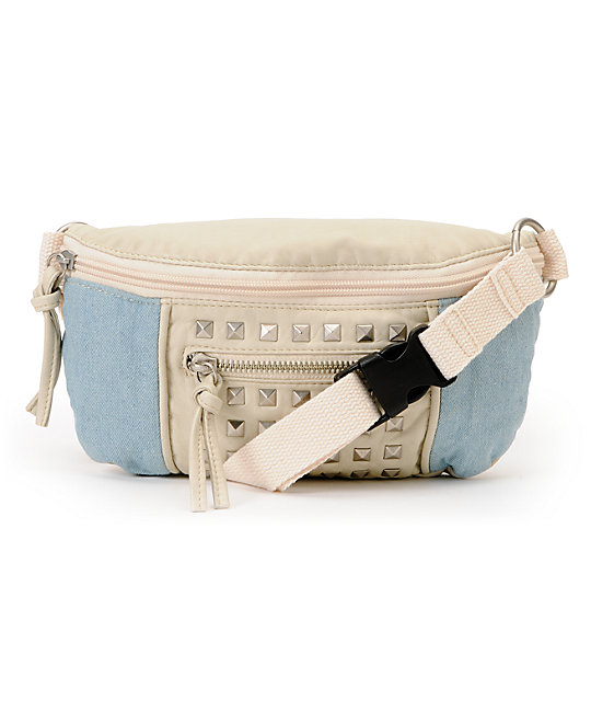 T-Shirt & Jeans White & Blue Studded Fanny Pack