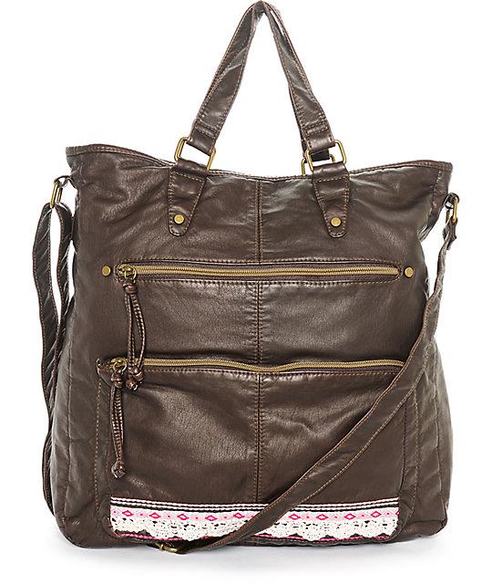 T Shirt Jeans Alexis Dark Brown Tote Bag At Zumiez Pdp