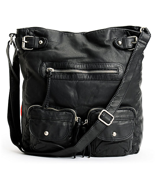 Shirt & Jeans Black Faux Leather Crossbody Tote Bag