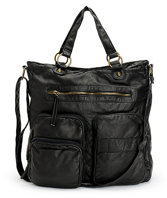 T shirt jeans black faux leather two pocket tote bag at for T shirt tote bag