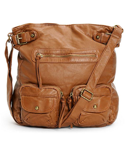 Shirt & Jeans Cognac Faux Leather Crossbody Tote Bag