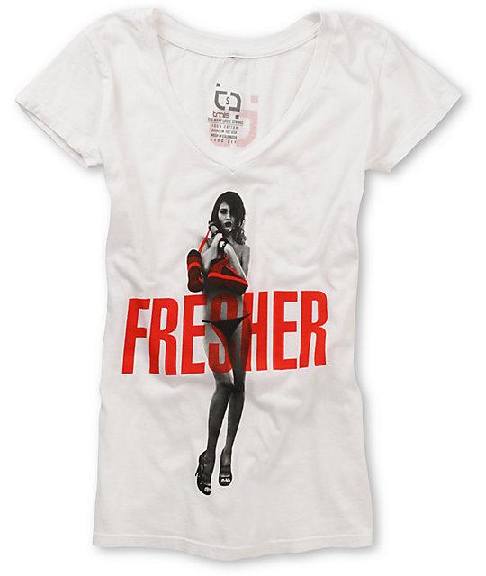 TMLS Fresher V-Neck White T-Shirt
