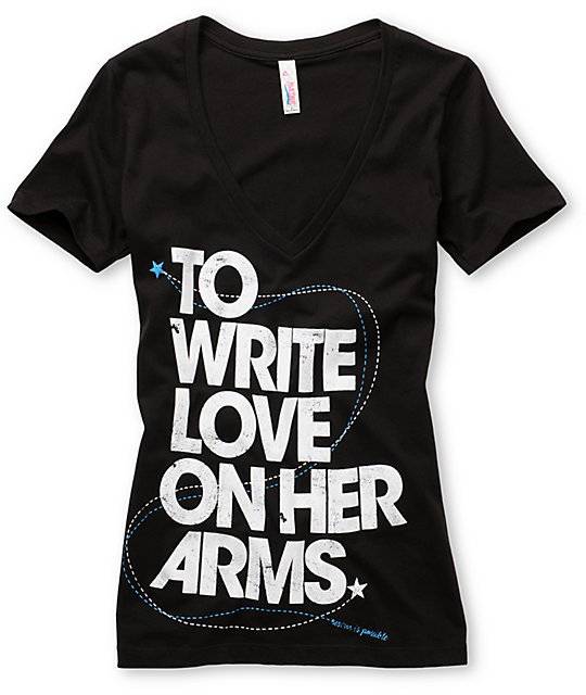 TWLOHA Big Title Black V-Neck T-Shirt