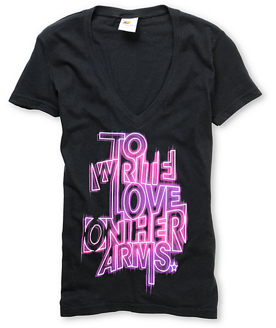 TWLOHA Glow Black V-Neck T-Shirt