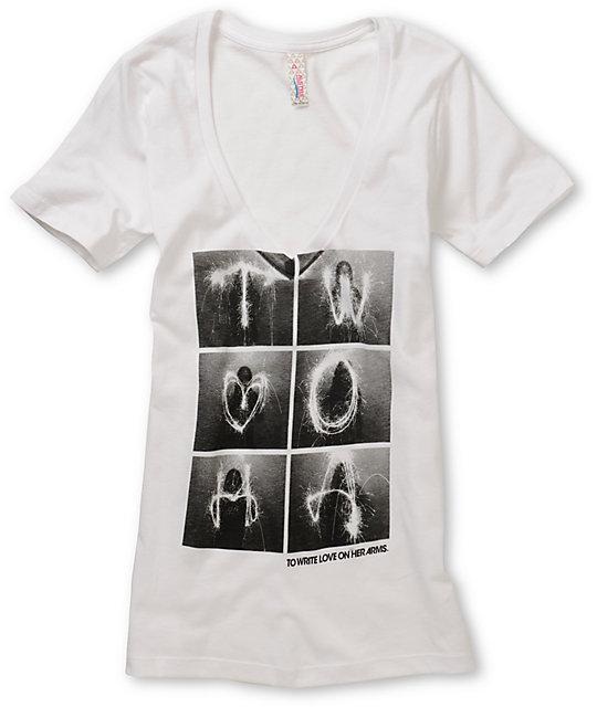 TWLOHA Sparkler White V-Neck T-Shirt
