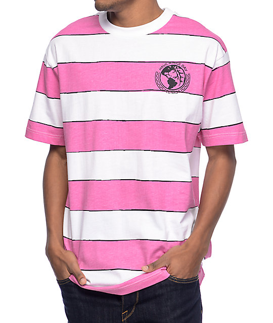 Teenage Have A Nice Day Pink & White Striped T-Shirt at Zumiez : PDP