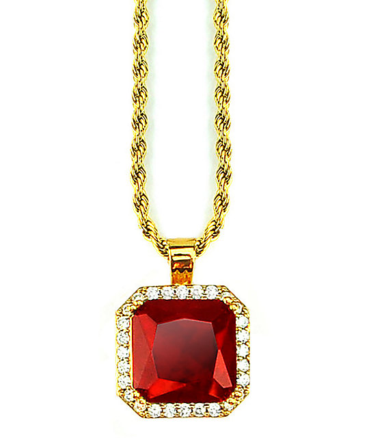 The Gold Gods Aura Ruby Pendant Necklace