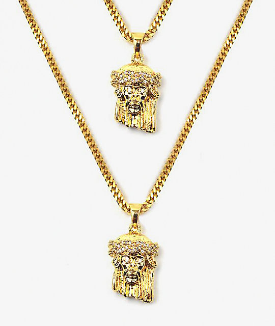 The Gold Gods Jesus Piece Layered Necklace Set