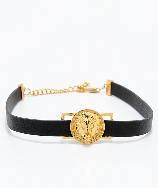The Gold Gods Lion Leather Choker