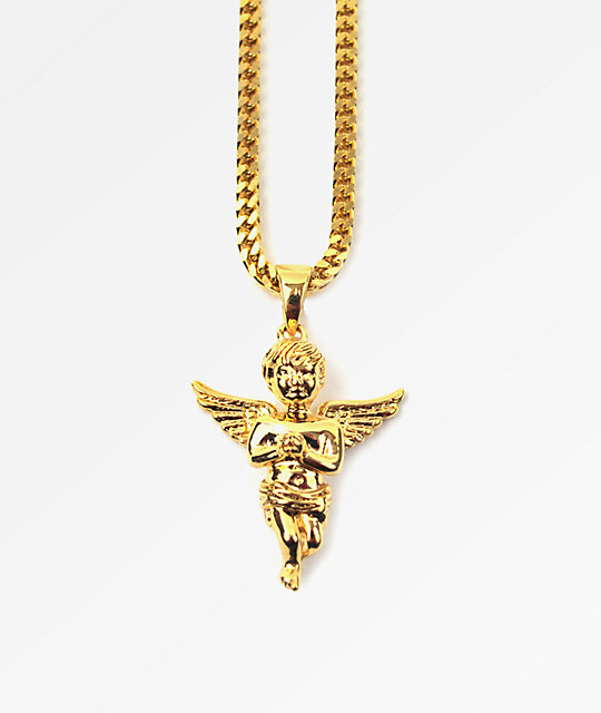 Gold Skateboard Necklace Micro Angel Gold Necklace