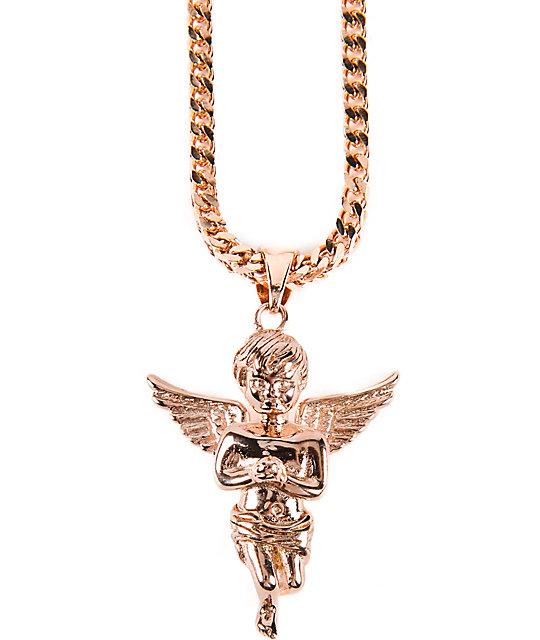 Gold Skateboard Necklace Angel Rose Gold Necklace
