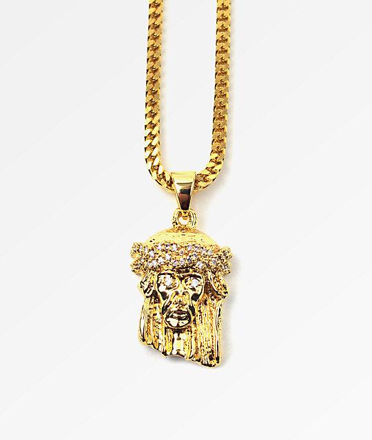 Gold Skateboard Necklace Jesus Piece Gold Necklace
