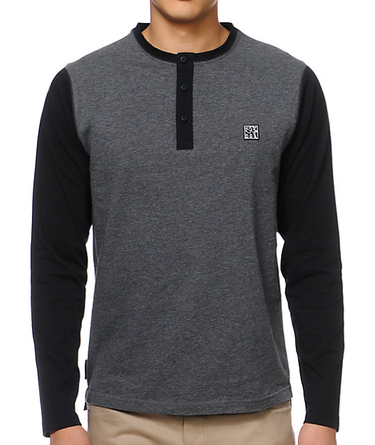 The Hundreds Aspen Charcoal Henley Baseball Shirt
