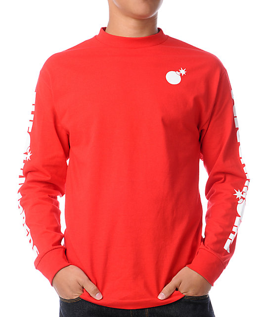 The Hundreds Bar Logo Long Sleeve Red T-Shirt