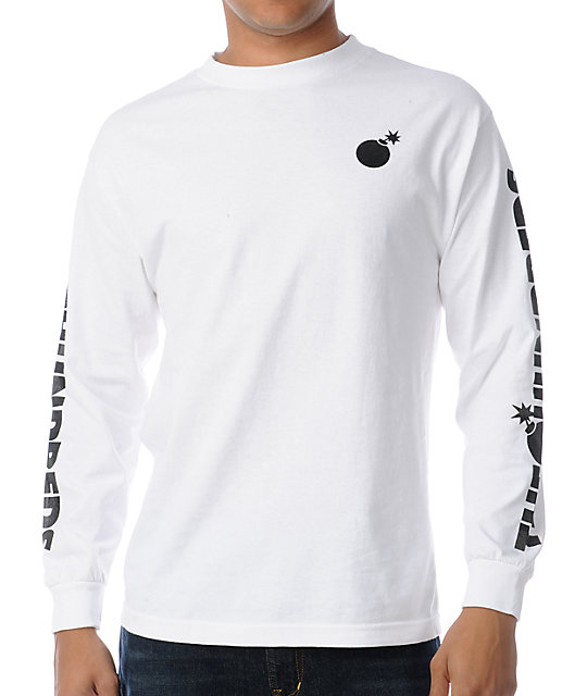 The Hundreds Bar Logo Long Sleeve White T-Shirt at Zumiez : PDP