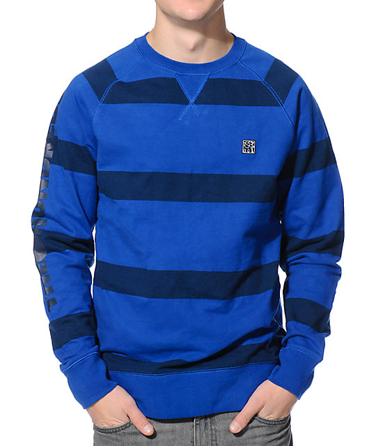 The Hundreds Belding Cobalt Blue Crew Neck Sweatshirt