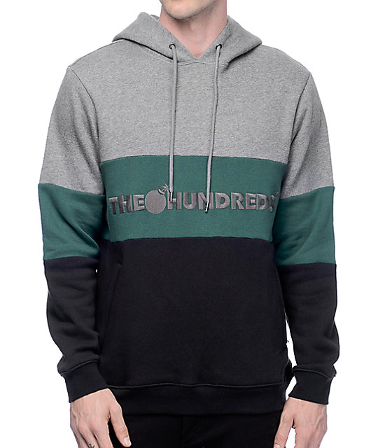 The Hundreds Canal Athletic Grey, Black & Green Hoodie at Zumiez : PDP