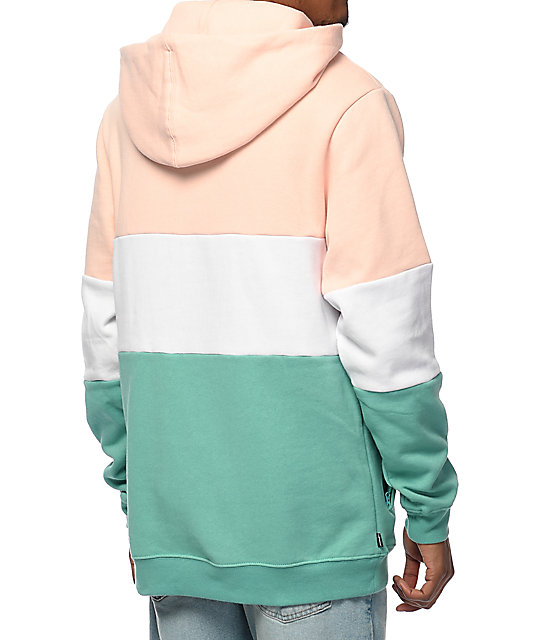 The Hundreds Canal Pink, White & Turquoise Green Hoodie