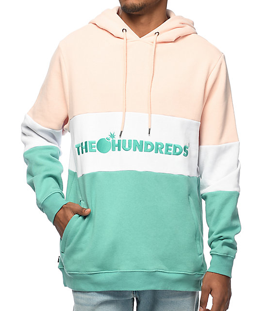 Hundreds Canal Pink, White & Turquoise Green Hoodie