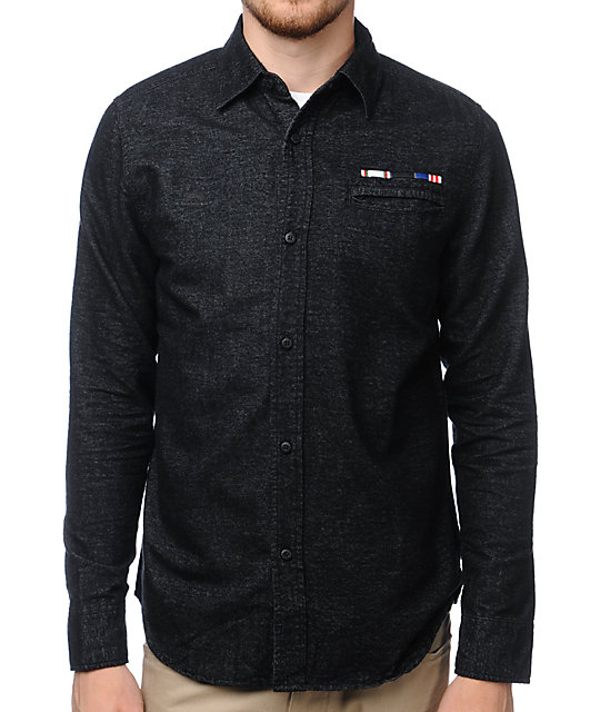 The Hundreds Drink Black Long Sleeve Flannel Shirt