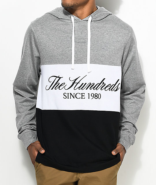 The Hundreds Ellis Hooded Athletic Heather Grey Long Sleeve T-Shirt