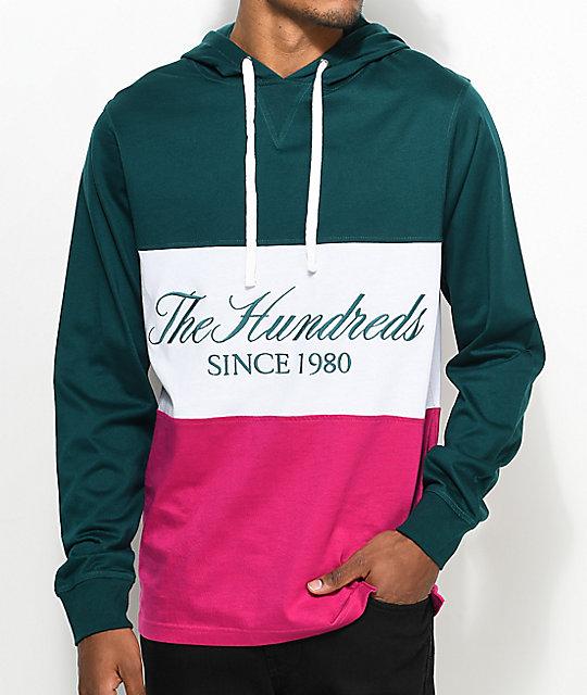 The Hundreds Ellis Hooded Deep Teal Long Sleeve T-Shirt | Zumiez