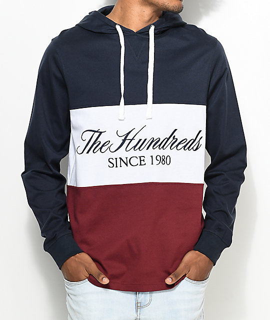 The Hundreds Ellis Hooded Navy Long Sleeve T-Shirt