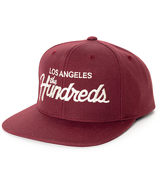 The Hundreds Forever Team Burgundy Snapback Hat