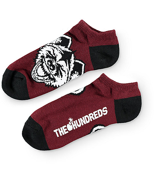 The Hundreds Hyena Burgundy Ankle Socks