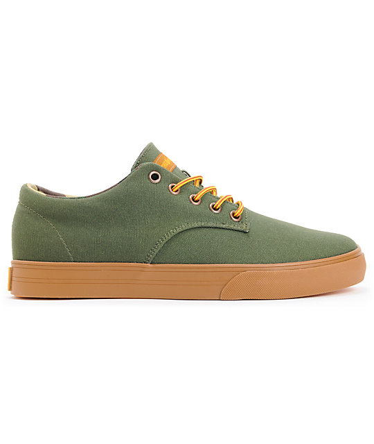 The Hundreds Johnson Low Army Green Canvas Skate Shoes