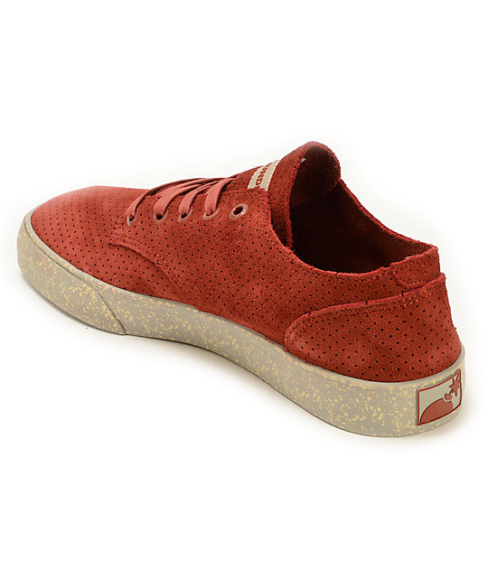 The Hundreds Johnson Low Perforated Burgundy Skate Shoes