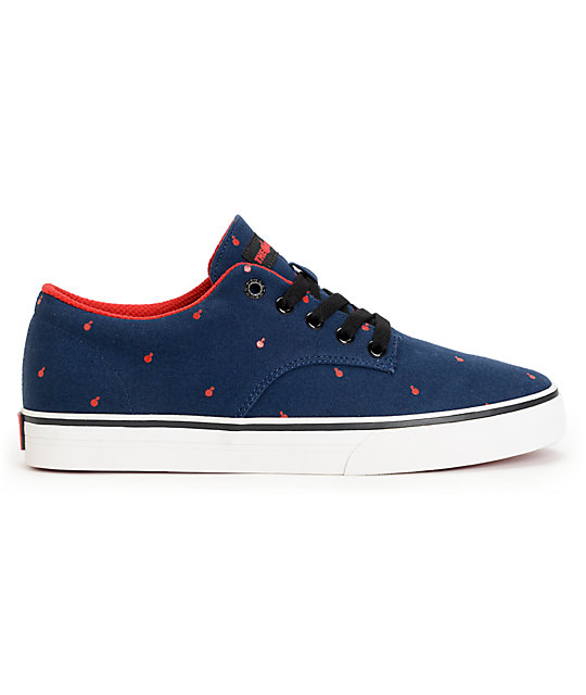 The Hundreds Johnson Low Polkabomb Navy & Red Canvas Skate Shoes